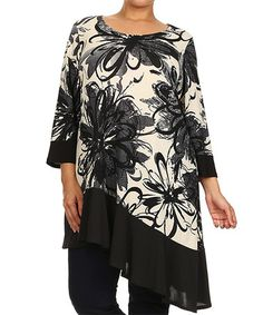 Another great find on #zulily! Ivory & Black Floral Asymmetrical Tunic - Plus by Curvesque #zulilyfinds