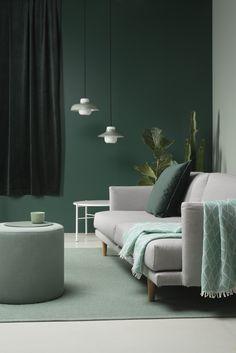 Hakola Lazy. Design Annaleena Hämäläinen. Sofas, Ottoman, Furniture Design, Interior Decorating, Style Inspiration, Colours, Living Room, Chair, Shades