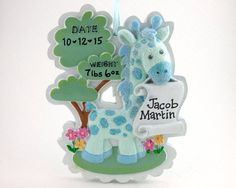 Hey, I found this really awesome Etsy listing at https://www.etsy.com/au/listing/252934893/baby-giraffe-personalized-ornament-baby