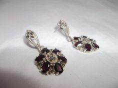 Vintage 1980's 925 Sterling Silver and Garnet Gemstone Marcasite Earrings $45 or Best Offer #sterlingsilver #ebay