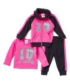 Real Love Deep Pink 'Amazing' Fleece Hoodie Set - Toddler & Girls by Real Love #zulily #zulilyfinds