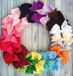 dollar hair bows / hairbows / set of 5 /   3 inch/ fit newborn infant toddler and big girl ONE SIZE / etsys premiere. $5.00, via Etsy.