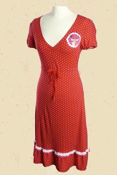 Rood wit gestipte jurk met hert-applicatie