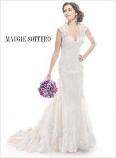Maggie Sottero Jessica Bridal Gown Wedding Dress Wedding Dresses Wedding gown Wedding gowns Lace vintage mermaid fit and flare elegant lace back keyhole back great Gatsby