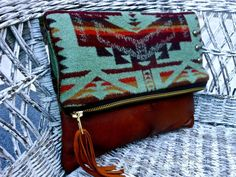 Pendleton Wool  and Leather Foldover Clutch Bag by StarryGarden