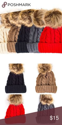 Chunky Knit Beanie with Faux Far Pom Pom  Like to be notified when in stock. Brand new. Accessories Hats