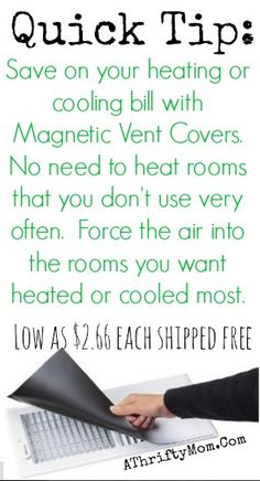 Heating and Cooling Tips, How to save money on your AC bill, use vent covers to force air where you want it most #EnergySavings, #SaveMoney,...
