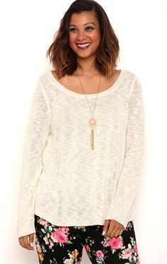 Plus Size Long Sleeve High Low Sweater with Crochet Back