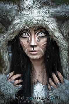 Wolf makeup, special effects makeup, wolf costume, white contacts ...