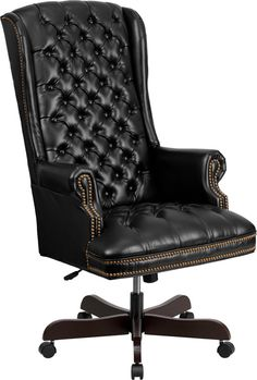 Flash Furniture High Back Traditional Tufted Black Leather Executive Swivel Office Chair