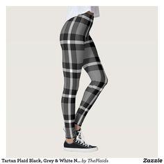 Tartan Plaid Black, Grey & White No. 48 Leggings