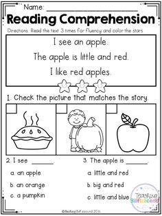 Inside you will find 25 Kindergarten Reading comprehension Passages. Reading Comprehension Worksheets, Reading Fluency, Reading Passages, Reading Activities, Guided Reading, Teaching Reading, Learning, English Reading, First Grade Reading