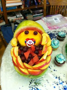 This fruit arrangement was at a baby shower I attended - great idea!
