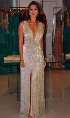 vestido de festa metalizado