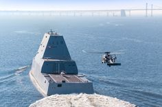 161017-N-CE233-184 CHESAPEAKE BAY, Md. (Oct. 17, 2016) USS Zumwalt (DDG 1000) approaches the Gov. William Preston Lane Memorial Bridge, also known as the Chesapeake Bay Bridge, as the ship travels to its new home port of San Diego, California. Zumwalt was commissioned in Baltimore, Maryland, Oct. 15 and is the first in a three-ship class of the Navy's newest, most technologically advanced multi-mission guided-missile destroyers. (U.S. Navy photo by Liz Wolter/Released)