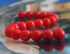 Opaque Lipstick Red Czech Glass Beads 8mm Round  20 by simplypie