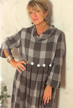 Winter Button Dress in checked soft wool, £285.