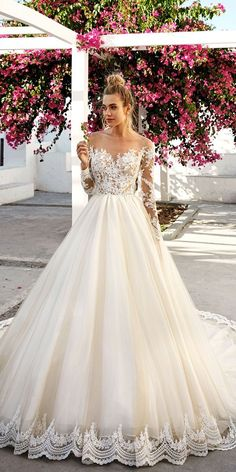 """long sleeve lace ball gown wedding dresses by eva lendel 2 [ """"Eva Lendels' brand is something new and exclusive to the bridal fashion world. Eva Lendel wedding dresses have contemporary and feminine styles."""", Trendy Eva Lendel Wedding Dresses For 2017 Dream Wedding Dresses, Bridal Dresses, Wedding Gowns, Sleeve Wedding Dresses, Tulle Wedding, Dresses Dresses, Wedding Ceremony, Modest Wedding, Lace Longsleeve Wedding Dress"""