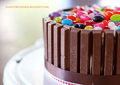 kitkats and jelly beans cake...