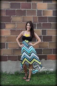 chevron sundress, high low dress, turquoise and black chevron dress, yellow statement necklace, yellow fashion necklace
