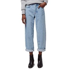 Topshop Boutique Wide Leg Jeans (365 BRL) found on Polyvore featuring women's fashion, jeans, light denim, blue jeans, topshop, wide leg jeans, 5 pocket jeans and topshop jeans