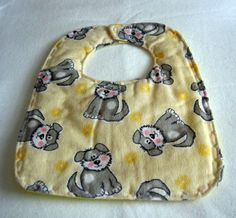 Flannel Baby Bib Yellow with Puppy dogs by sewinggranny on Etsy, $5.00