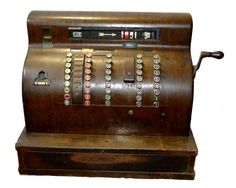 Antiga caixa registradora em madeira - marca National - movida por alavanca. Marcas do tempo. Med.: