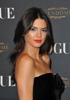Stunning Kendall Jenner with bronzed skin and red lips at the Vogue Paris's 95th Anniversary Party hosted by Emmanuelle Alt (October 2015). #kendalljenner