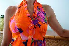 Vintage Hawaiian Waltah Clarkes Halter Dress
