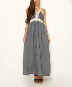London Navy Blue & White Lace Trim Empire-Waist Maxi Dress