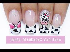 Unhas Decoradas de Vaquinha - cow Nail art - YouTube