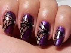 Spider Queen Nails Collaboration w/CreatedbyShelly spider nail art, cobweb nails, purple and black nails, halloween nail designs
