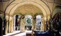 Frodo's room in Rivendell. I love that is open to the air.