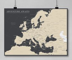 Europe Push Pin Map Print Only  Travel Map by AnAdventureAwaits