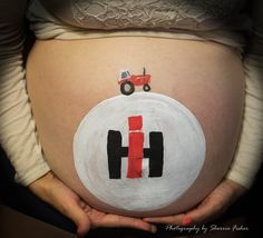 Baby bump hand painted with IH symbol and IH tractor Tractor Bedroom, Waiting For Baby, Baby Belly, Baby Bumps, Symbols, Hand Painted, Ih, Announcement, Cute