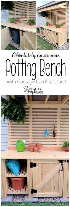 Potting Bench with Hidden Garbage Can Enclosure – Reality Daydream – Diy Furniture Ideas Deck Building Plans, Deck Plans, Building A Shed, Shed Plans, Lego Building, Outdoor Projects, Garden Projects, Outdoor Decor, Diy Projects