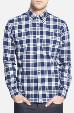 "Gant Rugger 'Winter Madras"" E-Z Fit Plaid Woven Shirt"
