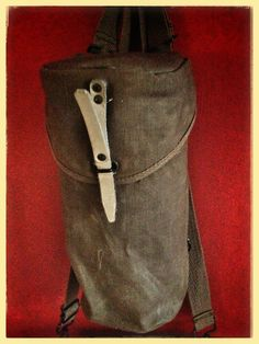 Vintage upcycled 1950's French waxed-canvas and leather bushcraft storage bag: a solid cylindrical camp bag, great for food supplies, or a water bottle or flask, in a beautiful chocolate brown canvas.
