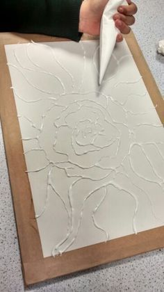 this glue art work gives a really nice effect making certain parts of the work look 2D.