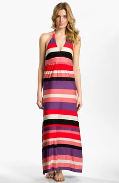 I love Maxi Dresses. FELICITY & COCO Stripe Halter Maxi Dress available at #Nordstrom