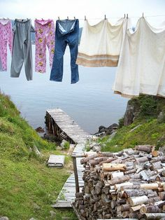 A common sight in Newfoundland. Nothing like the smell of fresh air on your laundry! Newfoundland Canada, Newfoundland And Labrador, Laundry Drying, O Canada, Summer Breeze, Country Life, Hanging Out, Places To Go, Beautiful Places