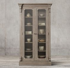 James Glass Double-Door Cabinet:Evoking the architectural classicism of turn-of-the-century design, the St. James collection is grand in both scale and beauty. Glass Wall Shelves, Floating Glass Shelves, Glass Shelves Kitchen, Kitchen Cabinet Design, Turkish Furniture, Hallway Storage, Furniture Vanity, Accent Furniture, Quality Cabinets