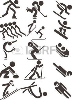 Illustration of Silhouette set of different winter sports skiing part 1 vector art, clipart and stock vectors. Textiles, Sport Icon, School Parties, Winter Sports, Vector Art, Skiing, Clip Art, Sporty, Icons