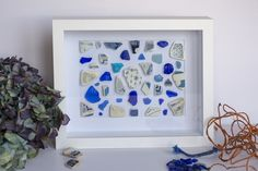 """Abstract in blue"""" collage in different shades and sizes of blue ans turquoise Irish sea glass and pottery Deep Box Frames, Artwork For Home, Irish Sea, Take You Home, Sea Glass, Create Yourself, Handmade Items, My Etsy Shop, Etsy Seller"""