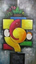 Abstract Ganesh - Handpainted Art Painting - 15in X 26in