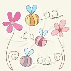 Bumblebees and Flowers Clip Art Set