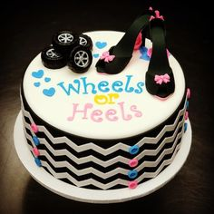 Baby Shower Cake designs - Gender Reveal Party - Gazzed Wheels or heels sweet mary's reveal ideas Gender Reveal Party Games, Gender Reveal Themes, Gender Reveal Party Decorations, Gender Party, Reveal Parties, Gender Reveal Box, Baby Shower Cake Designs, Baby Shower Cupcakes For Girls, Baby Shower Cakes
