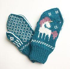Ravelry: Be a Unicorn Mittens pattern by Tonje Haugli Unicorn Knitting Pattern, Knitted Mittens Pattern, Fair Isle Knitting Patterns, Knit Mittens, Knitting Charts, Knitted Hats, Crochet Patterns, Cute Crochet, Knit Crochet