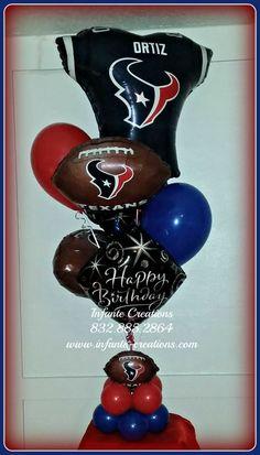Photo by infante. Balloon Table Centerpieces, Balloon Decorations, Birthday Decorations, Qualatex Balloons, Sports Decor, Football Themes, Balloon Bouquet, Houston Texans, Birthday Balloons