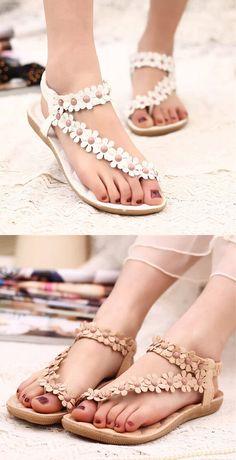 US$10.72 Bohemia Flowers Strappy Y Shape Splice Clip Toe Flat Slip On Sandals
